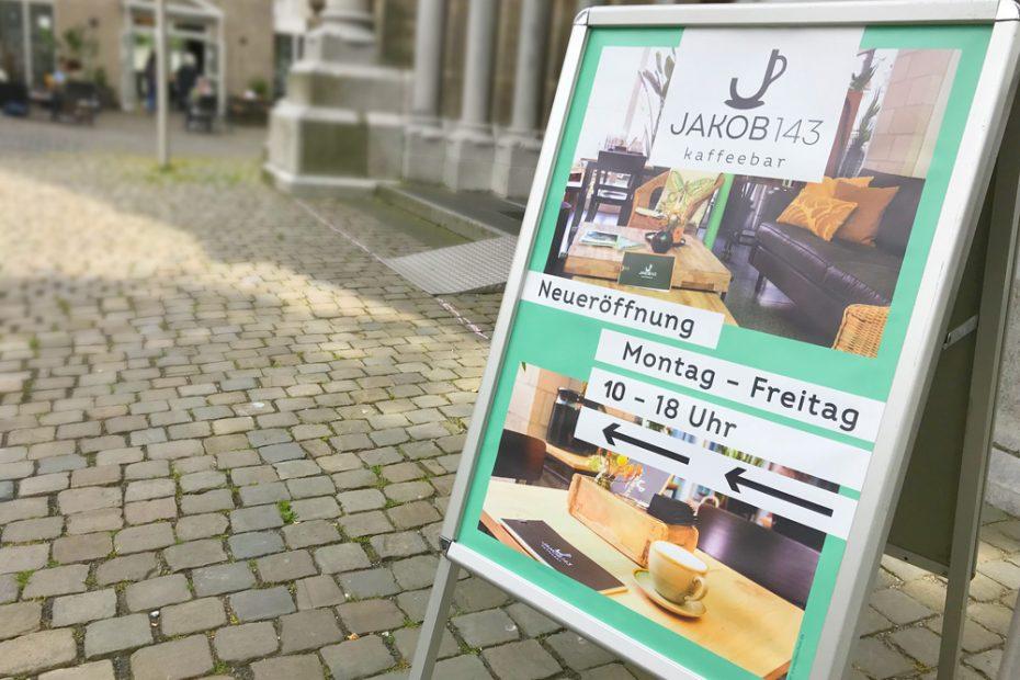 Jakob 143 Kaffeebar Kundenstopper