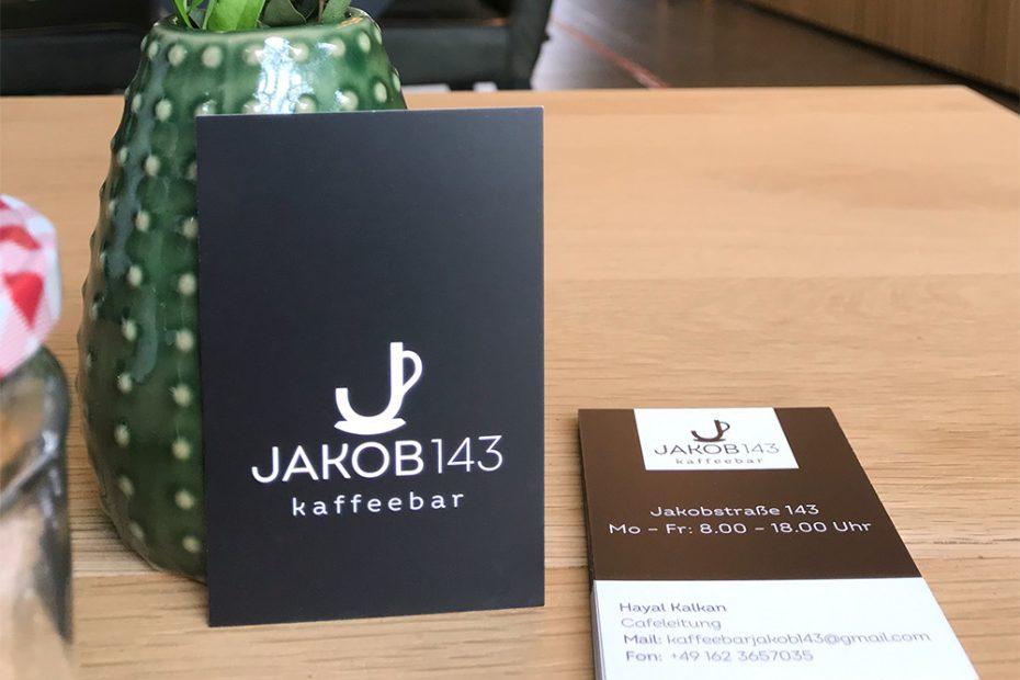 Jakob 143 Kaffeebar, Visitenkarte