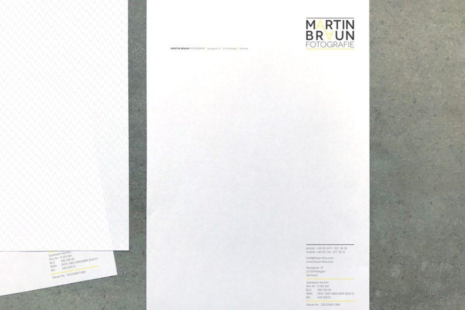 Martin Braun Fotografie, Briefbogen